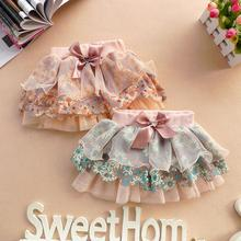 Baby Kids Toddlers Floral Pompon Layered Mini Tutu Children Girl Skirt Free Shipping