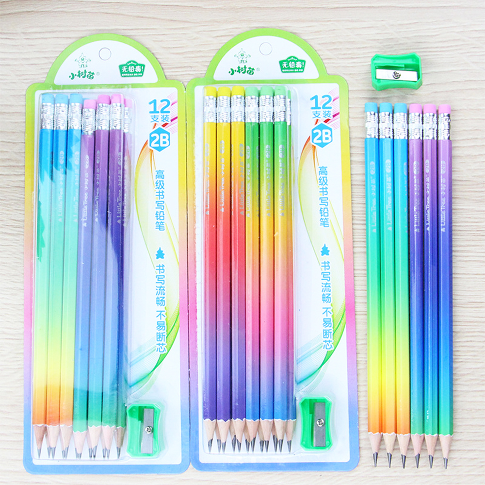 12Pcs/set Rainbow 2B Wooden Pencil +Pencil Sharpening Kids Writing Drawing Pencil Student Stationery