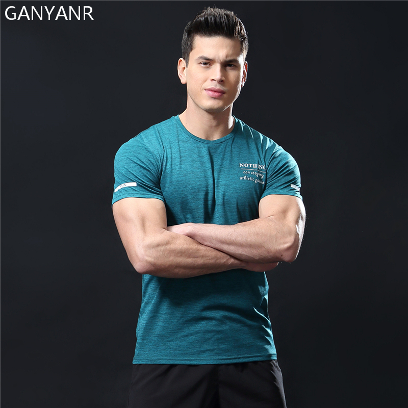 GANYANR Running T Shirt Men Basketball Tennis Sportswear Tee Sport Fitness Gym Jogging Tops Slim Fit quick dry Exercise Training in Running T Shirts from Sports Entertainment