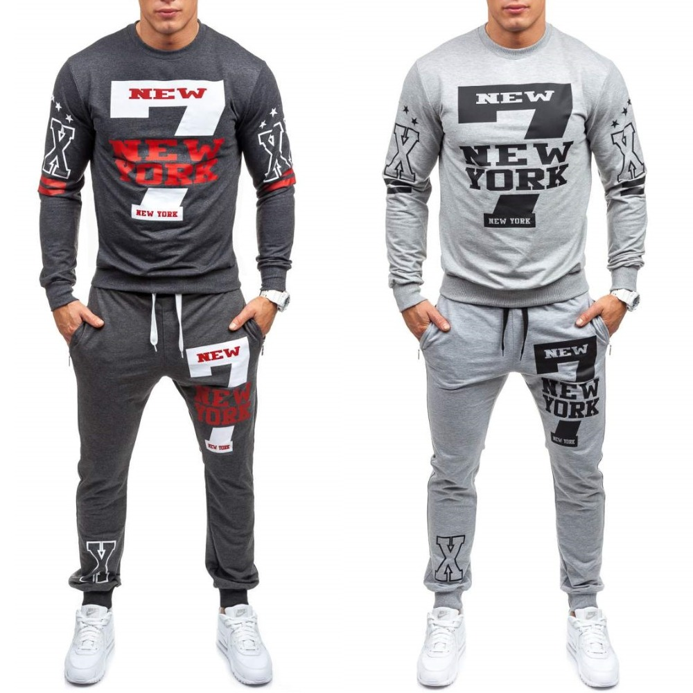 ZOGAA Brand Men Tracksuit Casual Mens 2 Piece Set Tops And Pants Drawstring Elastic Waist Letter Print Loose Sweat Suit For Man