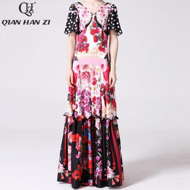 Qian Han Zi Vestido largo de diseñador más nuevo, a la moda, de pasarela, de manga corta con cuello en V, estampado increíble Vintage Indie Folk