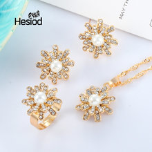 Hesiod Fashion Gold Color Bride Imitation Pearl&Crystal Jewelry Sets For Women Pendant Party Wedding African Beads Accessories(China)