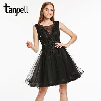 f0dde0db35 Tanpell corto gasa vestido negro sin mangas Scoop longitud de la rodilla  una línea vestido de señora Appliques cóctel Homecoming vestido