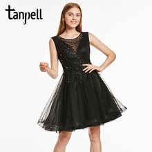 Tanpell short homecoming dress black scoop sleeveless knee length a line dress lady appliques beaded cocktail homecoming gown(China)