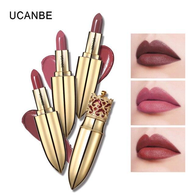Caliente 4 Color de oro de lujo mate terciopelo maquillaje lápiz labial corona desnudo de larga duración pigmento labios palo desnudo cosméticos labio Rouge TSLM1