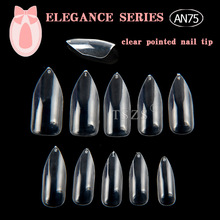 1bags/lot Sharp 500pcs 10 size ABS finger Artificial False Nails Full Cover Fake pointed clear Natural stiletto Nail art Tips
