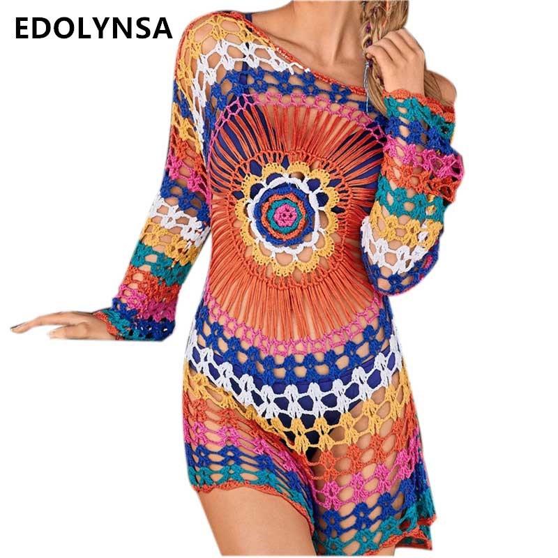 Fait à la main Boho Coloré Paisley Maille Tricoté Robe Sexy Plage Voir À Travers Manches Longues Évider Arc-En-Crochet Mini Robe n498
