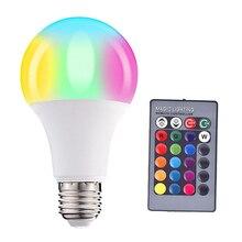 RGBW LED Light Bulb 3W 5W 10W E27 110V 220V Remote 16 Colors Diming Night Light Table Lamp Home Holiday Decor Atmosphere Lamp стоимость