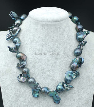 freshwater pearl black  reborn keshi baroque   necklace wholesale beads 18inch gift discount