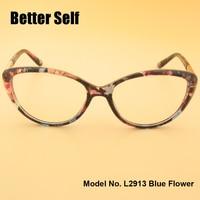 L2913 Pełna Obręczy Okularów Piękno Okulary PC Cat Eye Okulary Optyka Krótkowzroczność Ramki Okularów Optycznych Metalu Udekorować