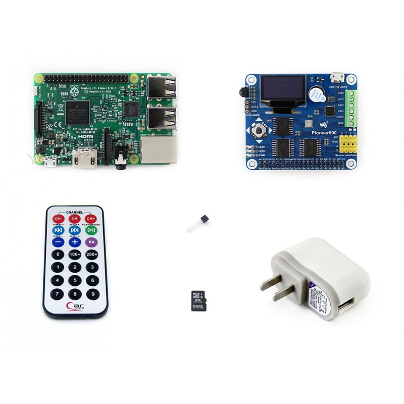 Raspberry Pi 3 Package B including Raspberry Pi 3 Model B with Expansion Board Pioneer600 and 16GB Micro SD card & IR Controller tengying tygpio 40pin adapter board 3 26pin expansion board for raspberry pi b red
