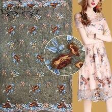 16a8c41393a FFLACELL 1 ярд одежда швейная ткань Чистая Пряжа вышивка шифон цветок  кружевная ткань сетка материал DIY платье аксессуары для о.