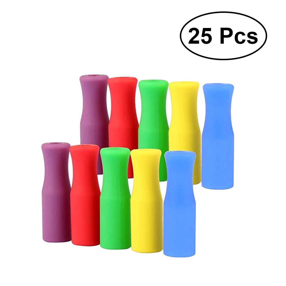 25pcs/Pack  Steel Straws Cover Straw Tips Covers Practical Food Grade Nontoxic Safe Heat-Resistant Soft Silicone Stainless
