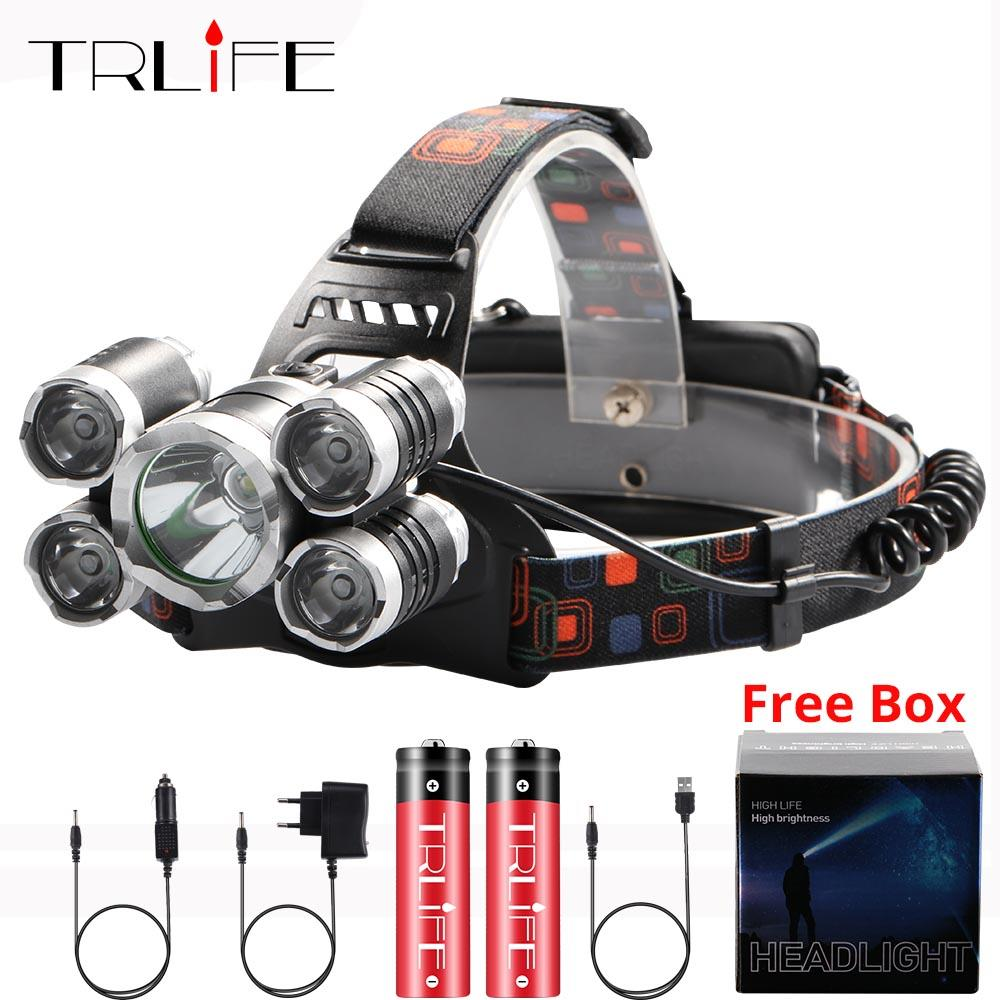60000Lm XM-T6x3 LED Headlight ZOOM Flashlight 5 LEDTorch Camping Fishing Headlamp lantern Use 2*18650 battery/AC/Car/Usb/charge