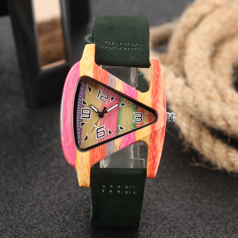 Unique Colorful Wood Watch Creative Triangle Shape Dial Hour Clock Women Quartz Leather Bracelet Watch Women's Wrist Reloj Mujer HTB1BT9UBVGWBuNjy0Fbq6z4sXXa5