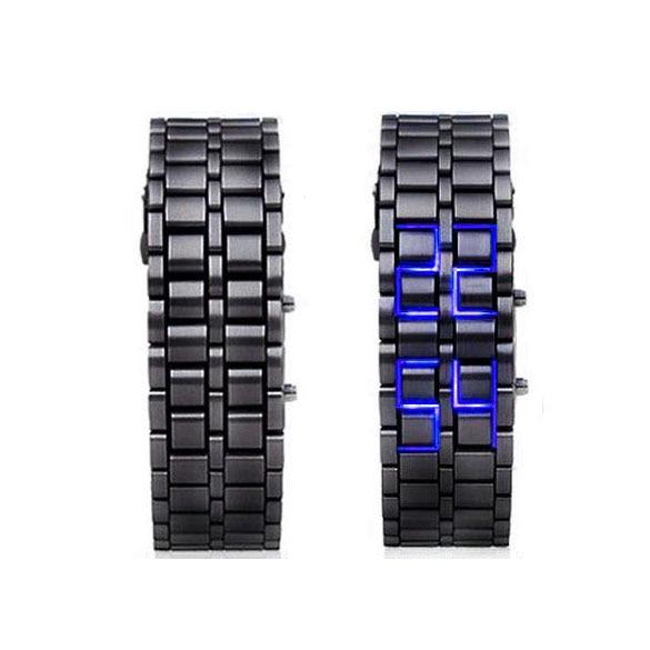 лучшая цена New Arrival Vogue Digital Lava Style Wristwatch LED Metal Man Wrist Watch with Clasp Red/Blue TT@88