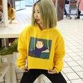 2016 Inverno Amarelo Halajuku Camisolas Dos Desenhos Animados Impresso Carta Bordado de Veludo Grosso Fêmea Com Um Capuz