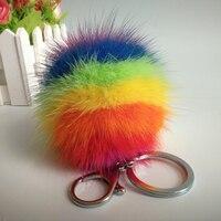 カラフルなミンクの毛皮バッグチャームミンク毛皮キーホルダーボール染めで虹色リアルファーバッグペン