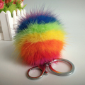 Colorful Mink Fur Bag Charms Mink Fur Ball Keychain Dyed In Rainbow Colors Real Fur Bag Pendant Genuine Mink Fur Car Keychains