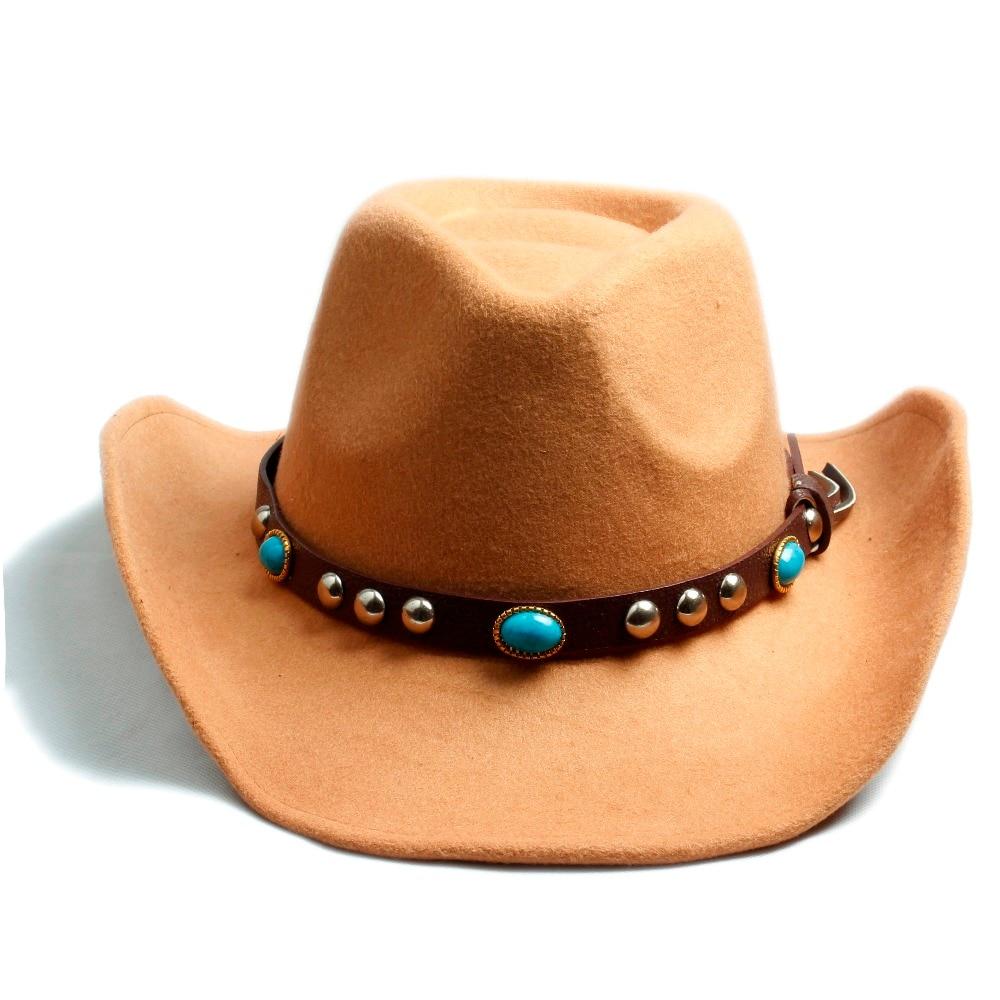 f5568d7b95477 Hombres Mujeres 100% lana fieltro Sombrero Fedora Sombrero vaquero  occidental Cowboy gorra Jazz Sombrero sol gorra Toca con banda de cuero en  Los hombres de ...