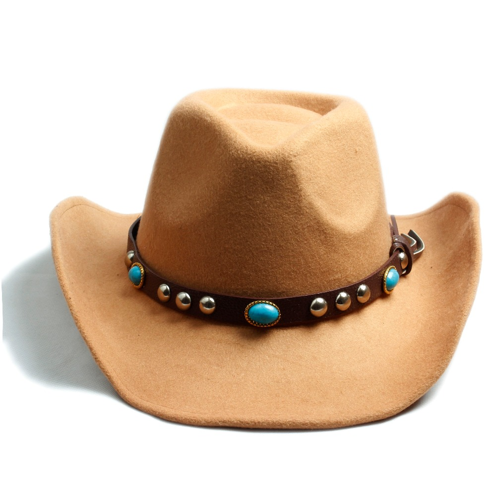 ad11aee87298b US $10.98 40% OFF|Men Women 100% Wool Felt Sombrero Cap Fedora Hat Western  Cowboy Cowgirl Cap Jazz hat Sun Hat Toca Cap with leather band -in Fedoras  ...