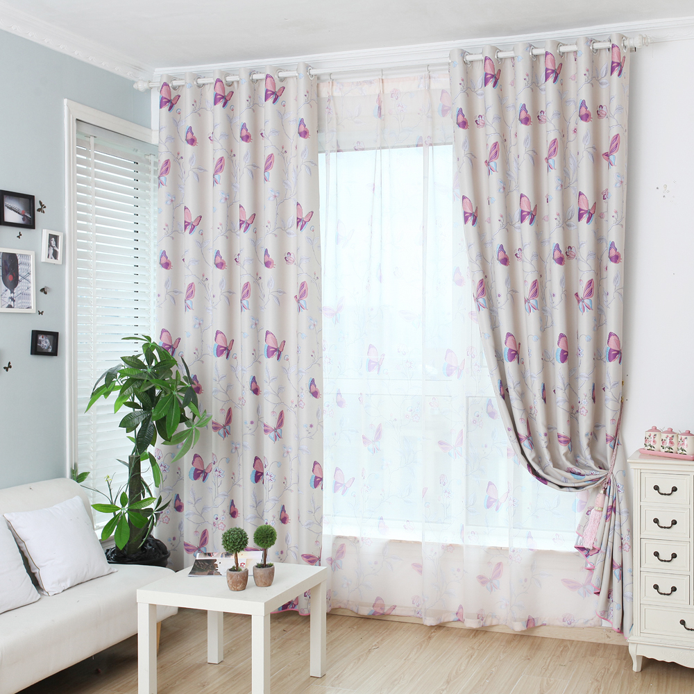 Purple butterfly curtains - Printed Butterfly Blackout Curtains For Living Room Design Morden Curtains For Window Home China