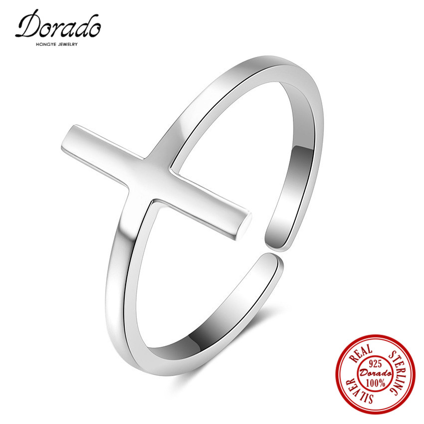 Dorado 2017 New Pure 925 Sterling Silver Jewelry Simple Smooth Fashion Cross Finger Rings Top Quality Adjustable