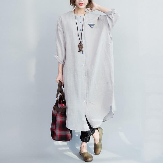 OLOEY 2018 Autumn Winter New Korea Linen Shirt Plus Size Dress Slim Loose  Casual Women s Vintage 2e77e6f46412