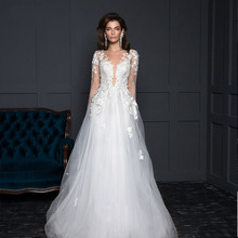 2019 Eightree Sexy Boho Beach Wedding Dress Appliques Lace 3D Flowers Backless Party Gown V Neck Long Sleeves Bride
