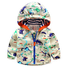 2-5 years Hot Sale Children's Hooded Jackets Summer Boy and Girl Outwear Fashion Long Sleeve Dinosaur Print Coat For Kids CMB187