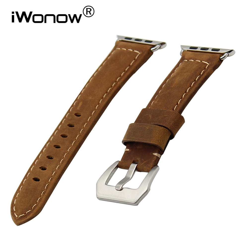 Italian Calf Genuine Leather Watchband Handmade Strap for iWatch Apple Watch 38mm 42mm Wrist Band <font><b>PAM</b></font> Buckle Belt <font><b>Bracelet</b></font> Brown image