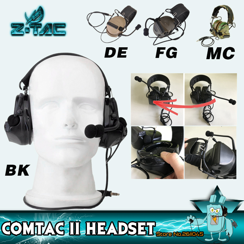 Z TAC Softair Tactical Hunting Headphones Peltor Comtac II Noise Reduction Airsoft Tactical Headset Shooting Headphone