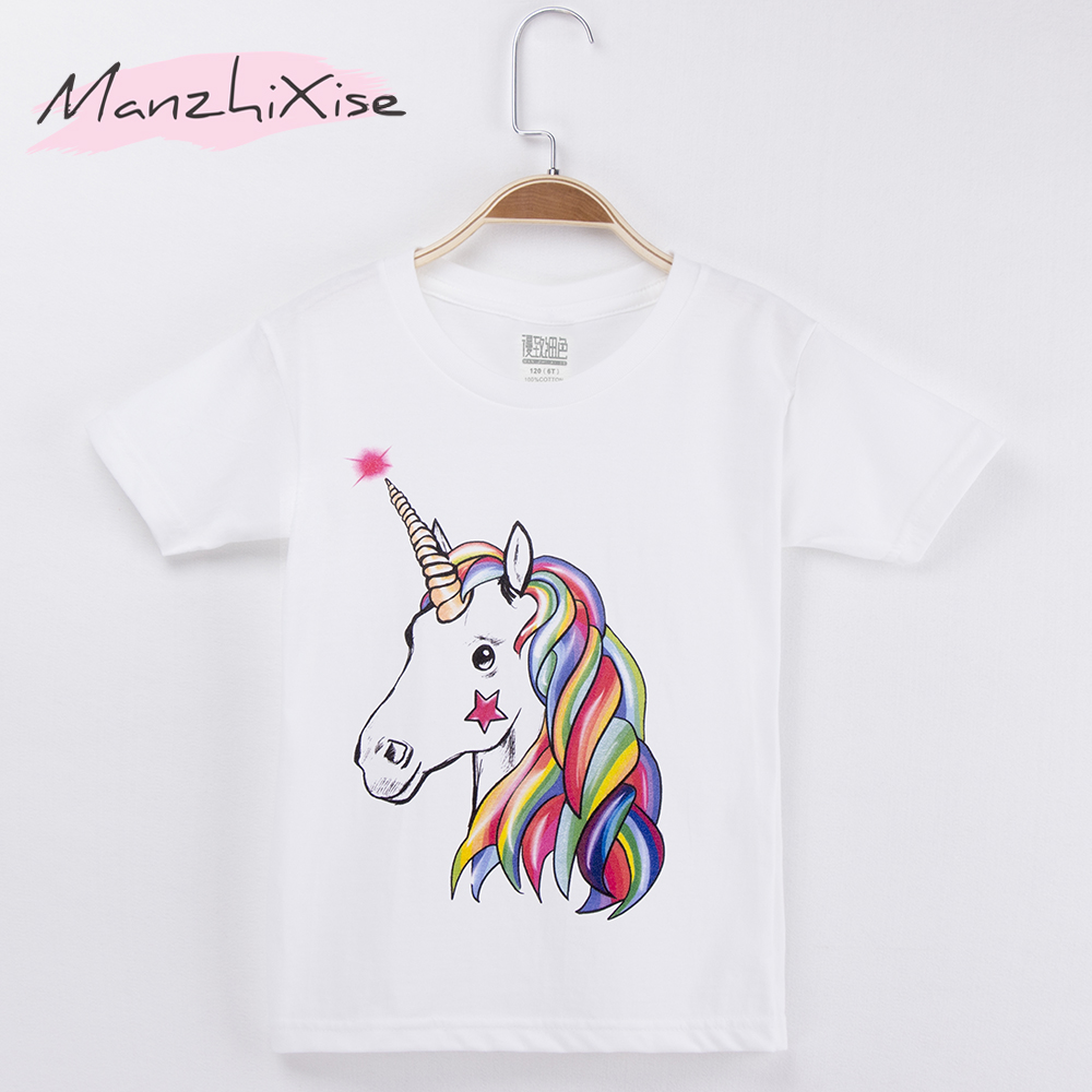 2018 New Fashion Children Clothing GirlsT-shirts Horse Unicorn Print 100% Cotton White Kids Short T Shirt Baby Top Child Clothes