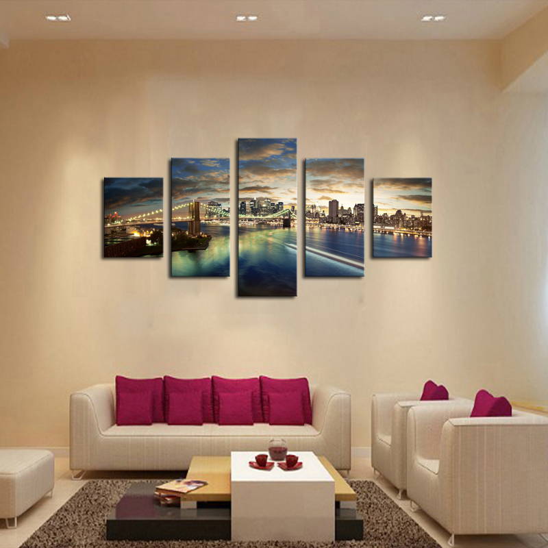 Enmarcado 5 paneles Chicago ciudad paisaje puente Impresión de ...