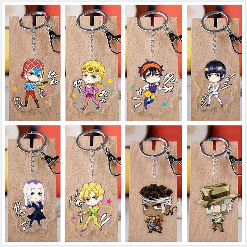 10 Pcs/lot Anime JoJos Bizarre Adventure Acrylic Keychain Toy Figure Joseph Joestar Bag Pendant Double Sided Key Ring Gifts