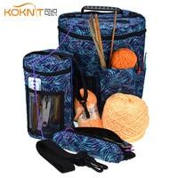 Koknit fio tricô agulhas caso de armazenamento para projetos de fios carry crochê titular bolso 3 tamanho feminino casa organizador saco de costura