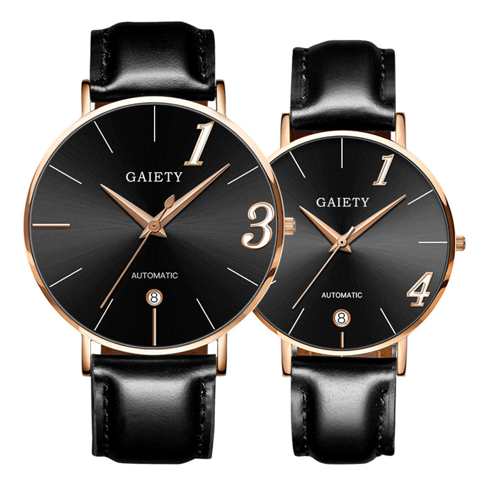 2019 Lover's Watches Casual Stylish Couple Watch Luxury Leather Strap Line Analog Quartz Ladies Gift Relogio Masculino A4