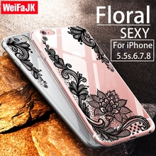 Fashion Sexy Floral Phone Case for iPhone 5s 5 6s 6 Plus New Lace Flower Women Flower Soft TPU Cover for iPhone 7 8 Plus X Case