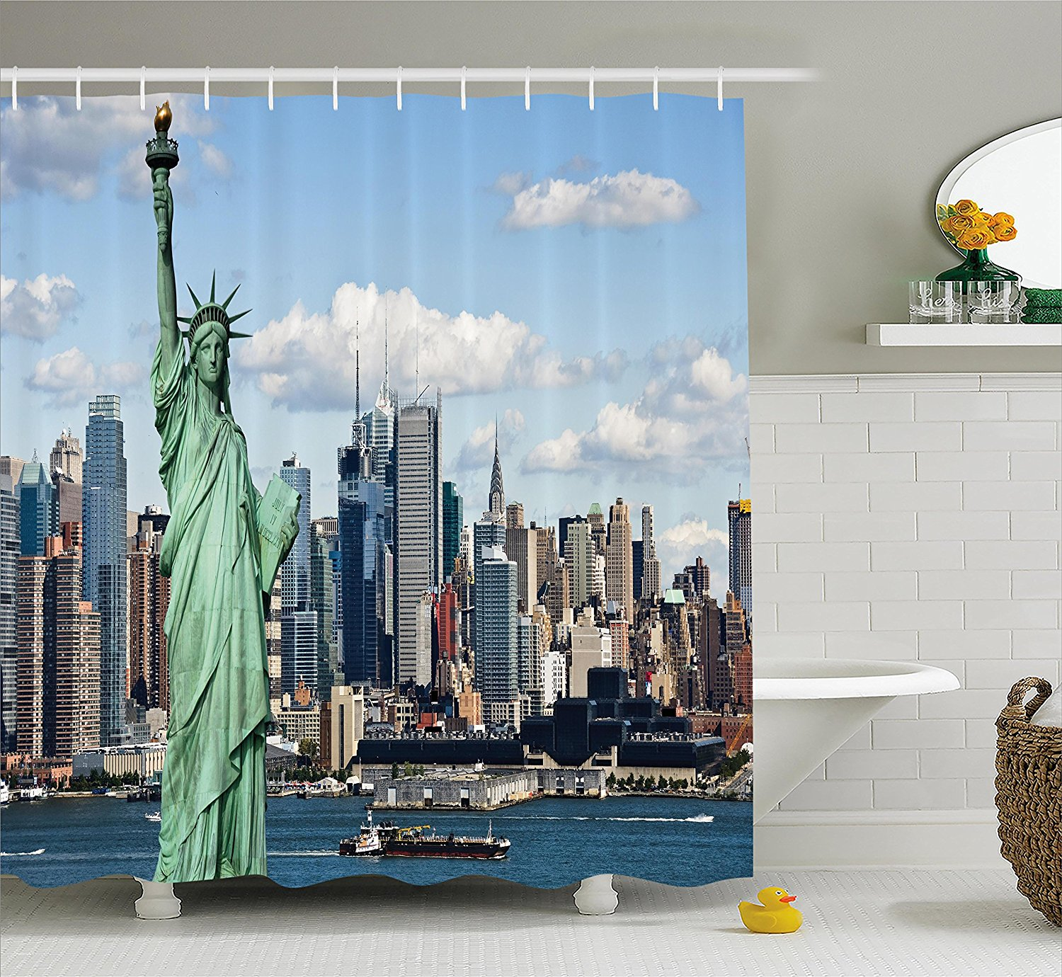 New York Shower Curtain Statue of Liberty in NYC Harbor