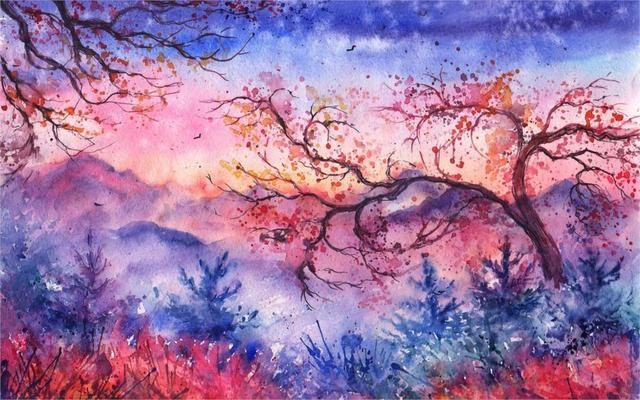 Beautiful Amazing Sunset Mountains Trees Birds Watercolor Landscape Living Room Home Wall Art Decor Wood Frame
