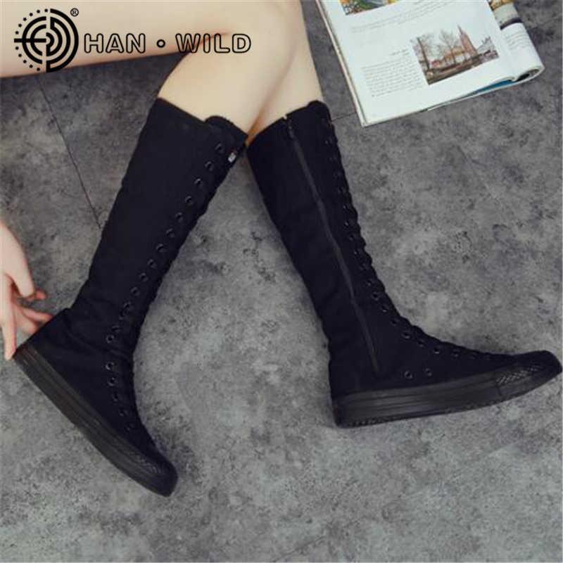 Diz yüksek Düz Topuk Kadın Botları Rahat Lace up Kadınlar kanvas ayakkabılar Yan Fermuar Kadın Düz Ayakkabı Rahat Nefes