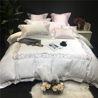 Egyptian cotton Embroidery Soft Bed sheet set Queen King size Luxury Bedding sets Duvet Cover Set Pillowcases Bed cover set
