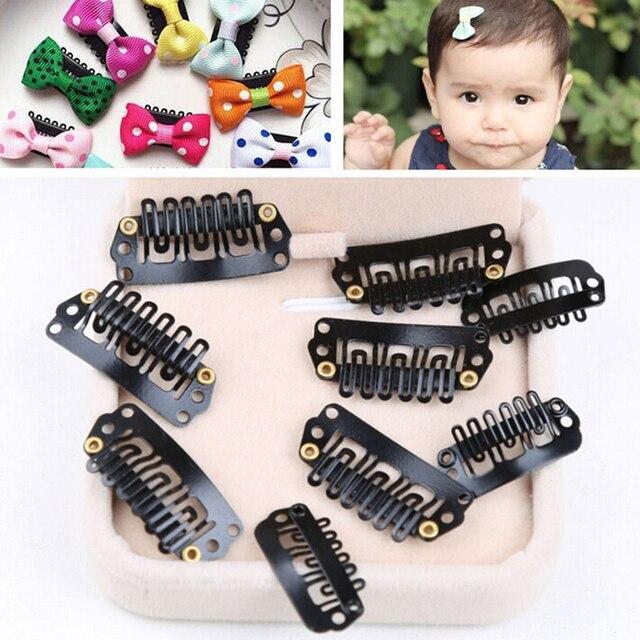 50 pièces métal noir 28mm 9 pinces à dents cheveux Snap pince à cheveux pour Extensions U forme armure toupet perruque outils de coiffure