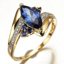 Оптовая продажа мода дамы обручальные кольца 18 К позолоченные обручальное  кольцо для женщин синий сапфир ювелирные изделия бесп. c88f1ef21a0