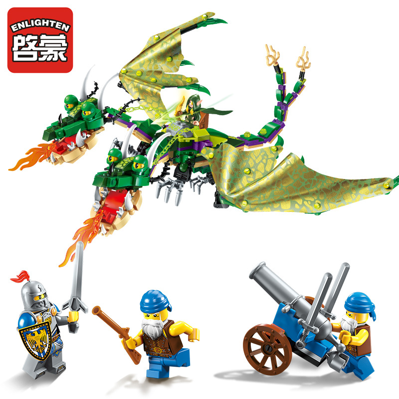ENLIGHTEN The War Of Glory Castle Knights twin-headed dragon Building Blocks Set Bricks Model Kids Toys Gift Compatible Legoe keys to the castle