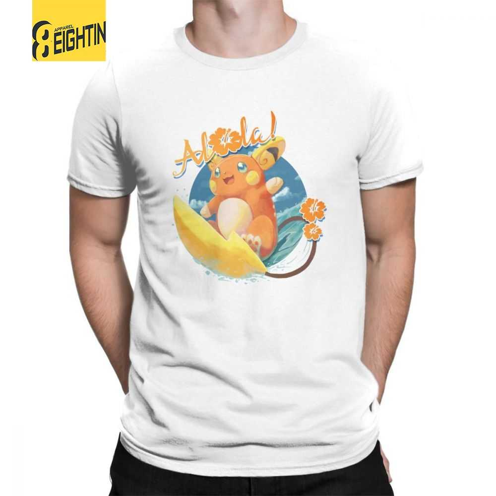 0cce3da5 Alolan Pokemon Pikachu Purified Cotton Short Sleeved Tee Shirt Mens T-Shirt  Plus Size Cartoon
