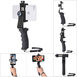 Image 1 - Mini Smartphone Hand Grip Holder Mobile Phone Stabilizer Clip Selfie Stick Clamp Adapter for iPhone 11 XS MAX XR Samsung S10