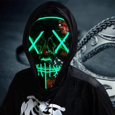 Halloween Mask LED Maske Light Up Party Neon Maska Cos Play Game Grimace Horror Mascarillas Glow In Dark Masque V DIY