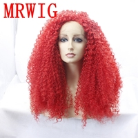 MRWIG long kinky curly synthetic front wig can permed free part 26inch 180%denisty red hair color for woman free part