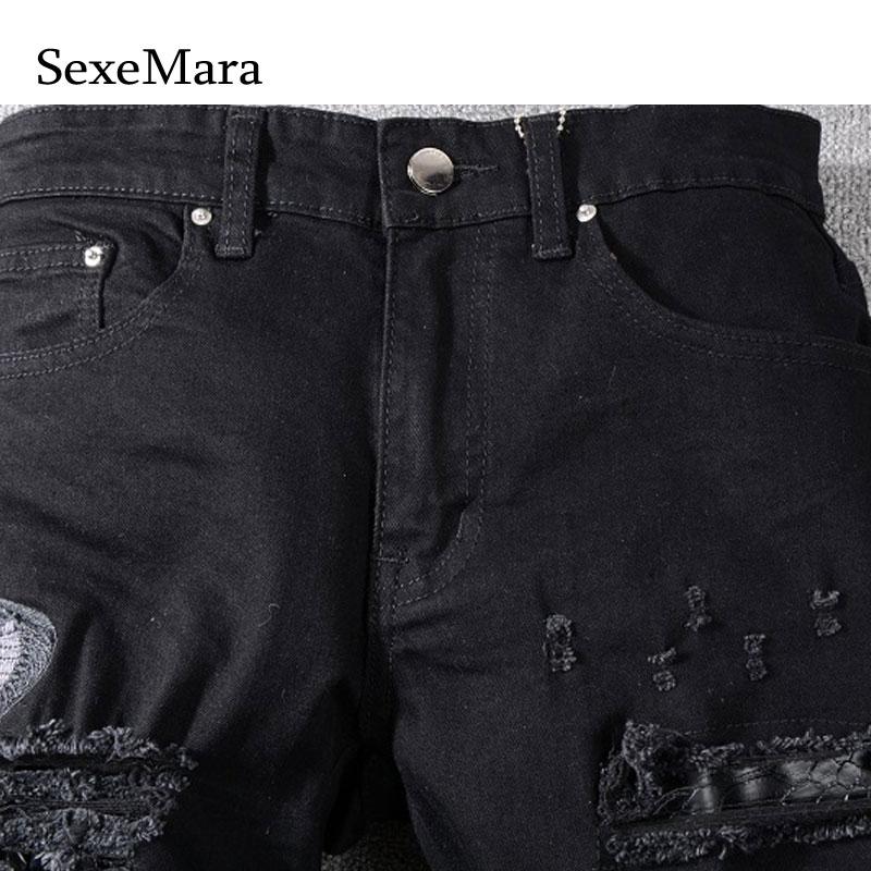 Italie Hommes Serpent En Jeans New Caché Cuir Broderie Patchs Mince 40 Pantalon 2018 29 Style Noir Taille Zfwndqf
